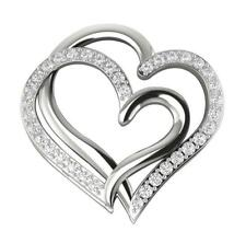 New SI1/G Natural 0.40Ct Diamond 14K White Gold Prong Set Heart Pendant Necklace