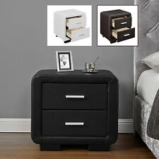 Modern Bedside Table Drawers Black Brown White Bluetooth Speakers Option