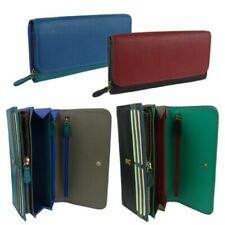 NEW Ladies LEATHER Large Flap Over Matinee PURSE/WALLET by Golunski Colourful