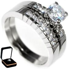 1.24CTW BRILLIANT ROUND CUT WEDDING ENGAGEMENT RING(2 rings) BOX size 6,7,8,9,10