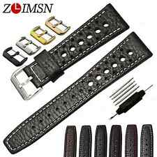 Watch Band Strap Black Brown Genuine Leather Holes Bracelet Sweatband 20mm 22mm