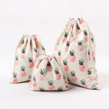 Handmade Cotton Canvas Draw String Storage Bag Gift Bag Print Pineapple N224S