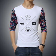 Men's Floral Long Sleeve O-Neck Cotton Tee Shirt Printed Casual Tops T-Shirts