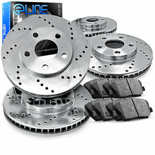 Brake Rotors *FRONT+REAR 4 ELINE CROSS DRILLED PERFORMANCE + 8 CERAMIC PADS