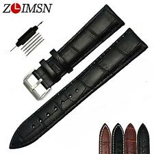 Watch Genuine Leather Band Strap Mens Womens Ladies Bracelet Stainless Buckle