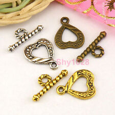 12Sets Tibetan Silver,Antiqued Gold,Bronze Heart Connectors Toggle Clasps M1382