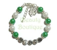 Personalized ST. PATRICK'S DAY with 4 Leaf Clover Irish Shamrock Charm Bracelet