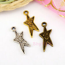 20Pcs Tibetan Silver,Antiqued Gold,Bronze Happy Face Star Charm Pendants M1578