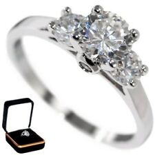 1.65CTW BRILLIANT CUT STONE BRIDAL ENGAGEMENT RING w/VELVET RING BOX size 9,10