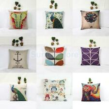 Assorted Pattern Rustic Cotton Linen Cushion Cover Throw Pillow Case Home Sofa