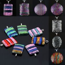 Rectangle/Coin Colorful Murano Foil Dichroic Lampwork Glass Charms Pendant Bead