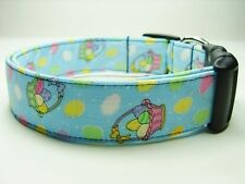 Charming Blue with Colorful Easter Eggs & Baskets Dog Collar