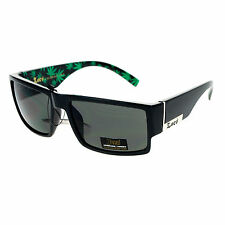 Mens Locs Sunglasses Rectangular Gangster Frame Marijuana Print