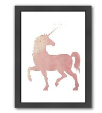 Americanflat Peach & Gold Unicorn Framed Graphic Art in Coral