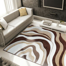 Brown Modern Abstract Area Rug Hand Carved Swirls Curves Contemporary Carpet