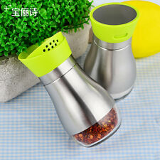 2pcs stainless steel salt pepper condiment container spice canister cruet set
