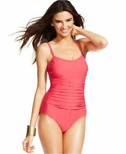 NWT INC International Concepts Pleated Ruched One-Piece Swimsuit Pink Size 10-20