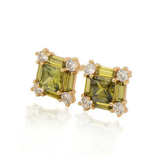 Wedding 18K Yellow Gold Plated Colorful Cubic Zirconia Stud Earrings