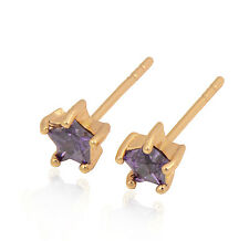 Delicate Star 18K Yellow Gold Plated Colorful CZ Stud Earrings