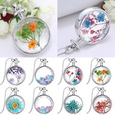 Dried Real Flowers Jewelry Round Glass Pendant Necklace Silver Fashion Gifts Hot