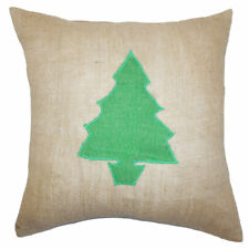 The Pillow Collection Holiday Christmas Tree Burlap Throw Pillow