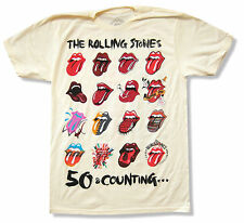 "THE ROLLING STONES ""TONGUE EVOLUTION"" CREAM T-SHIRT 2013 TOUR NEW OFFICIAL"