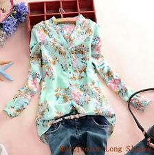 Plus Size Womens V Neck Floral Long Sleeve Chiffon Top Casual T Shirt Blouse Tee