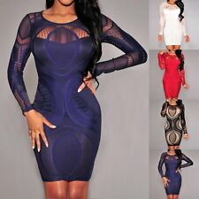 Sexy Ladies Bandage Bodycon Summer Evening Cocktail Party Long Sleeve Mini Dress