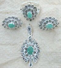 925 Sterling silver REAL Natural EMERALD & Marcasite Pendant Ring Earrings SET
