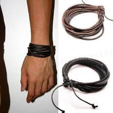 New Wrap Leather Bracelets Mens Braided Rope Fashion Jewelry Accessories HYDG
