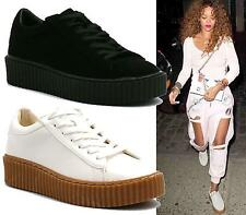 WOMENS CREEPER TRAINERS LACE UP PLATFORM FLATFORM LADIES FASION SHOES SIZE