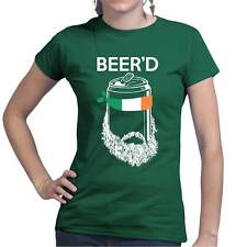 Beer'D Beard Irish Beer St Patrick's Paddys Day Shamrock Ladies T shirt T-shirt