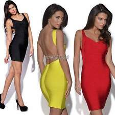 Womens Bodycon Ladies Backless Evening Midi Party Dress Bandage Stretch Skirt WS