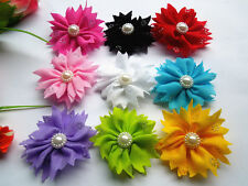 DIY10/50/100pcs Satin Ribbon Flower with Bead Appliques~Craft/Trim
