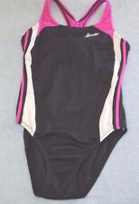 Girls size 14 Speedo competition 1 piece swimsuit black pink and white trim