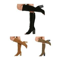 WOMENS LADIES KNEE LACE UP HIGH BLOCK HEEL ZIP PEEPTOE BOOTS SHOES SIZE 3-8