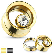 Pair CZ Surgical Steel Double Flared Screw Fit Tunnel Ear Plugs