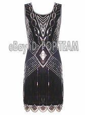 Art Deco 1920s Flapper Dress Great Gatsby Charleston Fringe Sequin Dress 8 12 18