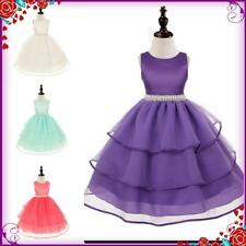 Kids Purples Christening Communion Wedding Flower Girls Party Dresses SIZE 3-12Y