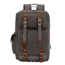 Men's Women's Canvas Shoulder Bag Hiking Outdoor Backpack Schoolbag Handbag New