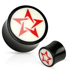 Pair Red Tribal Star White Bone Inlay Organic Buffalo Horn Saddle Fit Ear Plugs