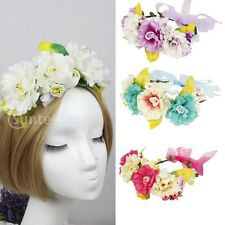 Bridal Lady Festival Party Boho Artificial Flower Floral Headband Hair Garland