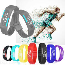 Fashion Womens Waterproof Digital LED Sports Silicone Mens Bracelet Wrist Watch