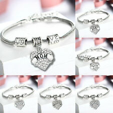 Statement Family Gift Bangle LOVE HEART Crystal Pendant Beads Bracelet Silver
