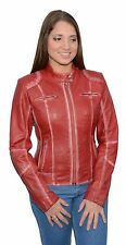Ladies Red Sheepskin Leather Motorcycle Jacket Scuba Style