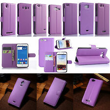 Purple Flip PU Leather Card Slot Folio Case Stand Cover Fashion ID Holder Wallet