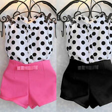 2pcs/Set Girls Child Kid Polka Dot T-shirt Tops+Bowknot Pants Shorts Clothes Set