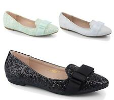 NEW WOMENS FLAT BALLET PUMPS GLITTER SATIN BOW SLIP ON WALKING DOLLY SHOES 3-8