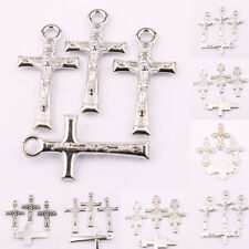 Wholesale 25/50Pc Glossy Tibet Silver Cross Carved Charm Penant Jewelry Findings