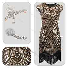 Gatsby Charleston Flapper Beads Fringe Sequin Dress 1920s Fancy Costume 6-20